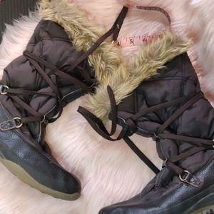 Lands end Fauc fur boots